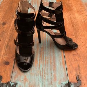 SJP by Sarah Jessica Parker Shoes - SJP Gina Caged Strappy Sandal. Suede & Patent.